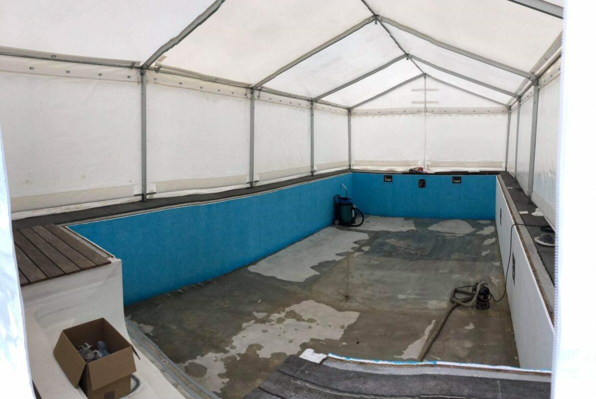 Telte til pool renovering og opbygning udlejes